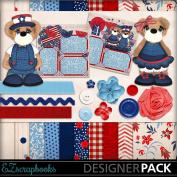 4th of July Bears - Digital Scrapbook Kit on CD