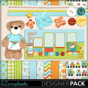 Chugga Chugga Bear - Digital Scrapbook Kit on CD