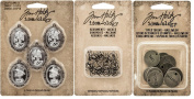 Tim Holtz Idea-ology - Halloween Typed Tokens, Wicked Adornments - Spiders & Crypt Cameos