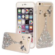 iPhone SE Case, iPhone 5S Bling Case, Phezen Slim Fit Clear TPU Rubber Back Cover with Flower Fairy Girl Design Glitter Bling Sparkle Stone Diamond Silicone Case for iPhone SE 5 5S - Silver
