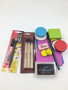 DIY Rubber Stamp Carving Kit :Carving Block , Carving Knife ,InkPad,Easy Grip ,Eraser , Pencil . Customise for Scrapbooking, Postcards, Invitation Cards, DIY Project