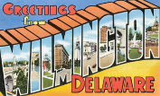 Wilmington Delaware Greetings Reproduction Luggage Decal 7.6cm x 13cm