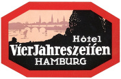 Hotel VierJahreszeifen Hamburg Reproduction Luggage Decal 7.6cm x 13cm