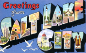 Salt Lake City Greetings Reproduction Luggage Decal 7.6cm x 13cm