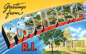 Providence RI Greetings Reproduction Luggage Decal 7.6cm x 13cm