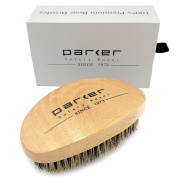 Parker 100% Premium Boar Bristle Beard & Hair Brush with Beechwood Contoured Handle