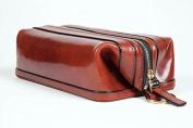 Old leather 25cm Zipper travel utilikit cognac