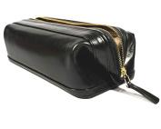 Old leather 25cm Zipper travel utilikit black