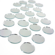 Fantastic Deals Pack of 50 Circle Round 2.5cm Mirrors Smooth Edges Mosaic Tiles Party Craft Decoration
