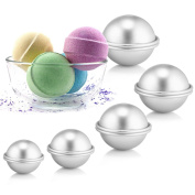 Caydo 5 Size DIY Metal Bath Bomb Mould with 5 Set 10 Pieces for Crafting Your Own Fizzles