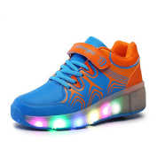 SGoodshoes Kids LED Light Sneakers Luminous Trainers Roller Skate Flying Shoes Heelys With A Wheel Adult Flashing Shoes