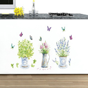 Winhappyhome Vase Pot Art Wall Stickers for Bedroom Living Room Background Removable Decor Decals