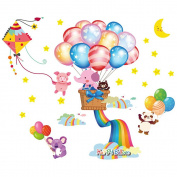 Winhappyhome Happy Balloon Kids Wall Stickers for Children's Room Nursery Background Removable Decor Decals