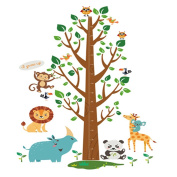 Winhappyhome Animals Tree Wall Stickers for Bedroom Living Room Nursery Background Removable Decor Art Decals