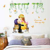 Winhappyhome Green Vines Funny Childlike Wall Art Stickers for Bedroom Living Room Nursery Background Removable Decor Decals