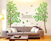RSTE Huge Tree Wall Decals Lots of Leaves Bird Wall Stickers PVC Removable Waterproof Nursery Decor