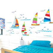 Wallpark Sea Level Colourful Sailboat Seagulls Removable Wall Sticker Decal, Living Room Bedroom Home Decoration Adhesive DIY Art Wall Mural