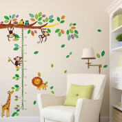 Wallpark Cute Giraffe Lion & Naughty Monkey Climbing Tree Height Sticker, Growth Height Chart Measuring Removable Wall Decal, Children Kids Home Room Nursery DIY Decorative Adhesive Art Wall Mural