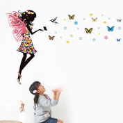 Wallpark Cartoon Magic Colourful Butterfly Fairy Girl with Wings Removable Wall Sticker Decal, Children Kids Home Room Nursery DIY Decorative Adhesive Art Wall Mural