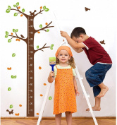 RSTE Tree Wall Decals With Height Measurement and Bird Wall Stickers Realise Your Dream PVC Kid's Room Nursery Decor Kindergarten Decoration