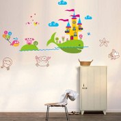 Wallpark Cartoon Big Whale Castle Cute Underwater Crabs Removable Wall Sticker Decal, Children Kids Home Room Nursery DIY Decorative Adhesive Art Wall Mural