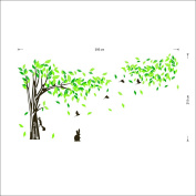 Kenmont Huge Green Tree Wall Stickers Climbing Squirrel Wall Decals Rabbit and Flying Birds Wall Decor Art Wallpapers Murals for Nursery, Home, Bedroom Decoration