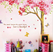 RSTE Flower Wall Decals Tree Wall Stickers Love is Beautiful Stickers PVC Room Nursery Decor