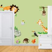 RSTE Animal Wall Decals Monkey Giraffe Squirrel Lion Wall Stickers PVC Room Nursery Decor