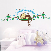 Sweet Dream Monkey Wall Decals PVC Removable Monkey Sleeping on The Tree Branch Room Nursery Decor