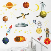 Wallpark Educational Universe Outer Space Planets Removable Wall Sticker Decal, Children Kids Home Room Nursery DIY Decorative Adhesive Art Wall Mural