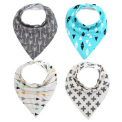 Bandana Absorbent Drool Bibs for Drooling and Teething 4 Pack Gift Set For Boys & Girls (Random Colour) By Webeauty