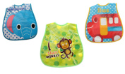 Baby Boy Girl Easy Clean Plastic Waterproof Crumb Catcher Feeding Bib Pack of 3