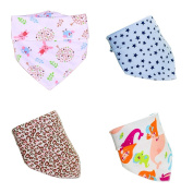 Bandana Drool Bibs with Snaps for Infants Stylish Design For Drooling Teething Babies Cotton Baby Gift Set - 4 pack