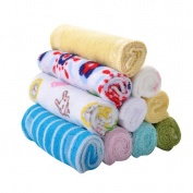 Lalang 8PCS Colourful Soft Cotton Baby Small Towel Newborn Infant Handkerchief Bath Wash Cloths Bibs Feeding Towels