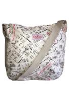 Cath Kidston washed messenger bag cotton newsprint cream