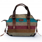Striped Tote Bag,Multi-Colour Striped Canvas Totes Handbag Women's Hobos and Shoulder Cross-body Bags