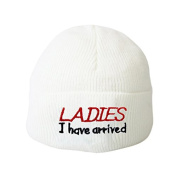 Ladies I have arrived White Baby Hat Embroidery Beanie Boys Girls Hats Toddler