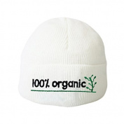 100% Organic Cute White Baby Hat Embroidery Beanie Boys Girls Hats Toddler