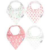 "Baby Bandana Drool Bibs for Drooling and Teething 4 Pack Gift Set For Girls ""Claire"" by Copper Pearl"