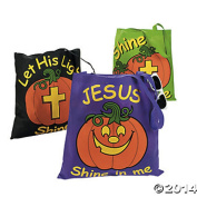 Glow in Dark Halloween Christian Pumpkin Tote Bags