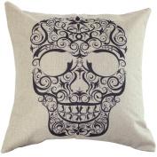 Hatop Vintage Skull Cotton Linen Cushion Cover Throw Waist Pillow Case Sofa Home Decor