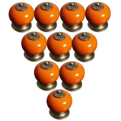 Lsgoodcare Orange 38MM 10PCS Europe Vintage Pumpkin Style Ceramic Door Knobs Drawer Pull Handle Cabinet Cupboard Wardrobe Baby Kid's Children's Furniture