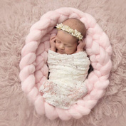 Newborn Baby Photography Prop Backdrop Handmade Crochet Knitted Braid Wool Spinning Fibre Wrap Pink