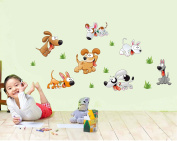 Happy Dogz Baby Nursery Animal Wall Decals for Kids Rooms, Baby, Boys & Girls Bedroom - Peel & Stick,Removable Vinyl Wall Stickers - Lovely