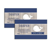 Rustic Nautical White and Navy Whale Baby Shower Nappy Raffle Tickets 20-pack