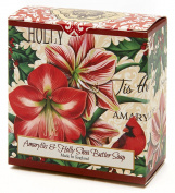 Amaryllis and Holly, Luxury Round, Beautifully Scented Shea Butter Soap Bar, Made in England, Triple Milled. Environmentally Friendly (Green). 100ml