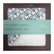 aden + anais Muslin Hooded Towel & Washcloth Set, Ahoy Baby Nautical Anchors