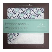 aden + anais Muslin Hooded Towel & Washcloth Set, Ahoy Baby Nautical Anchors