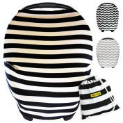 Baby Car Seat Covers Canopy, Stretchy Nursing And Shopping Cart Cover, Multi Use 3 in 1 Gift + Carry Bag