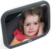 Baby Car Mirror - Rear Facing Back Seat - Easy to Fully See Your Baby in Auto - Shatterproof Crash Tested - Fully Adjustable Top Quality Convex Mirror - Instals in Seconds in any Car